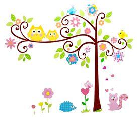 Naklejka na ścianę Drzewo, Sowy WS-0095