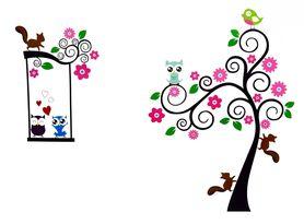 Naklejka na ścianę Drzewo, SOWY WS-0110