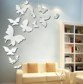 Naklejki na ścianę Lustrzane Motyle 3D 13szt.