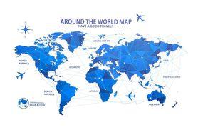 Naklejka na ścianę Mapa Świata WS-0250
