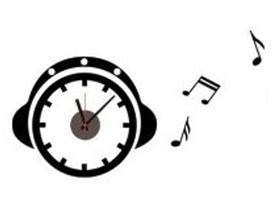 Naklejany zegar ścienny Słuchawki