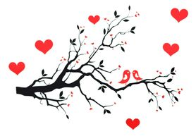 Naklejka na ścianę Drzewo, Serca WS-0115