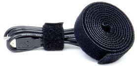 Organizer rzep do kabli przewodów czarny 1 metr