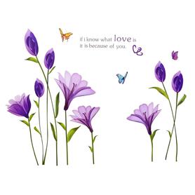 Naklejka na ścianę Fioletowe Kwiaty WS-0156