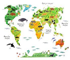 Naklejka na ścianę Mapa Świata dla dzieci WS-0180