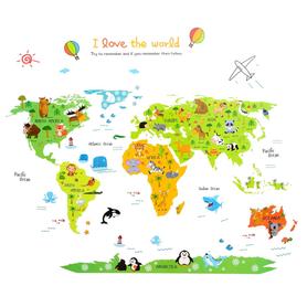 Naklejka na ścianę Mapa Świata dla dzieci WS-0207