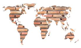 Naklejka na ścianę Mapa świata cegły WS-0243