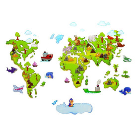 Naklejka na ścianę Mapa Świata dla dzieci WS-0020