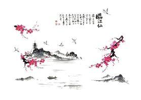 Naklejka na ścianę Orient Kwiat Wiśni WS-0236