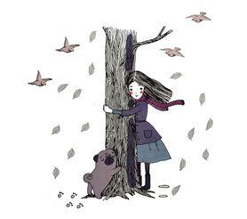 Naklejka na ścianę Drzewo Dziewczynka WS-0291