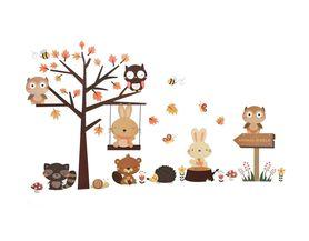 Naklejki na ścianę Drzewo Zwierzęta WS-0304