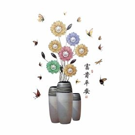 Naklejki na ścianę Kwiaty Wazony Motyle WS-0306