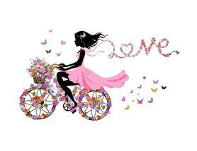 Naklejki na ścianę Dziewczyna Rower Kwiaty WS-0329