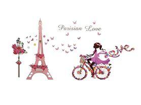 Naklejki na ścianę Rower Paryż Wieża Eiffla WS-0330