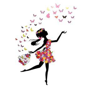 Naklejki na ścianę Dziewczynka Motyle WS-0331
