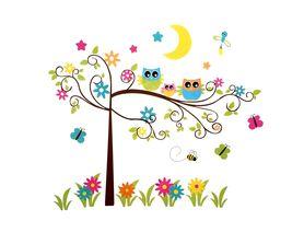 Naklejka na ścianę Drzewo Sowy WS-0349