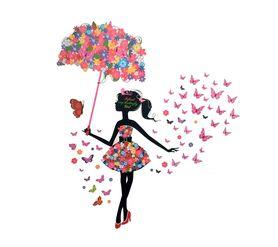 Naklejki na ścianę Dziewczynka Motyle WS-0351