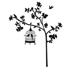 Naklejka na ścianę Drzewo, Klatka WS-0035