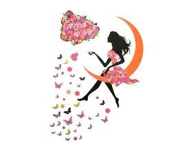 Naklejka na ścianę Wróżka dziewczynka motyle WS-0362
